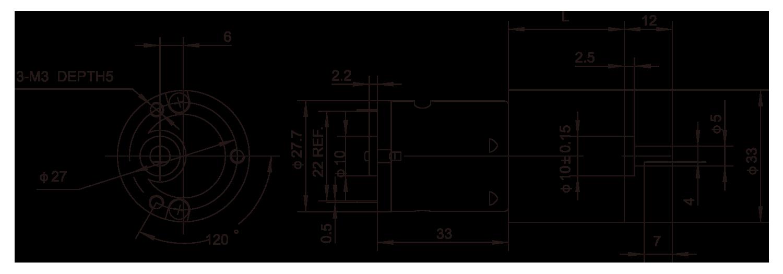 ギヤボックスモーター_33JPF2833_Outline-drawing